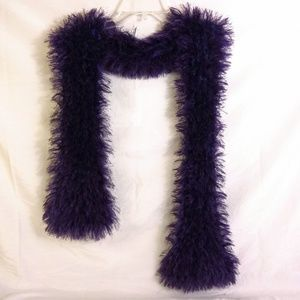 Soft Fuzzy Thick Purple Knit Scarf
